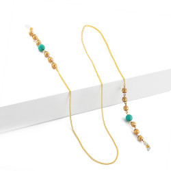 Golden Eyeglasses Chain With Blue Stone