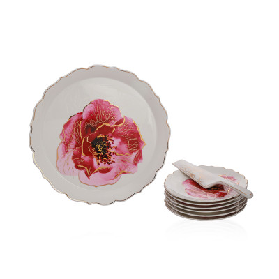 Set Of 6 Small Plate,1 Big Plate And Knife Of Porcelain Floral Design Camillia Collection - Et1108